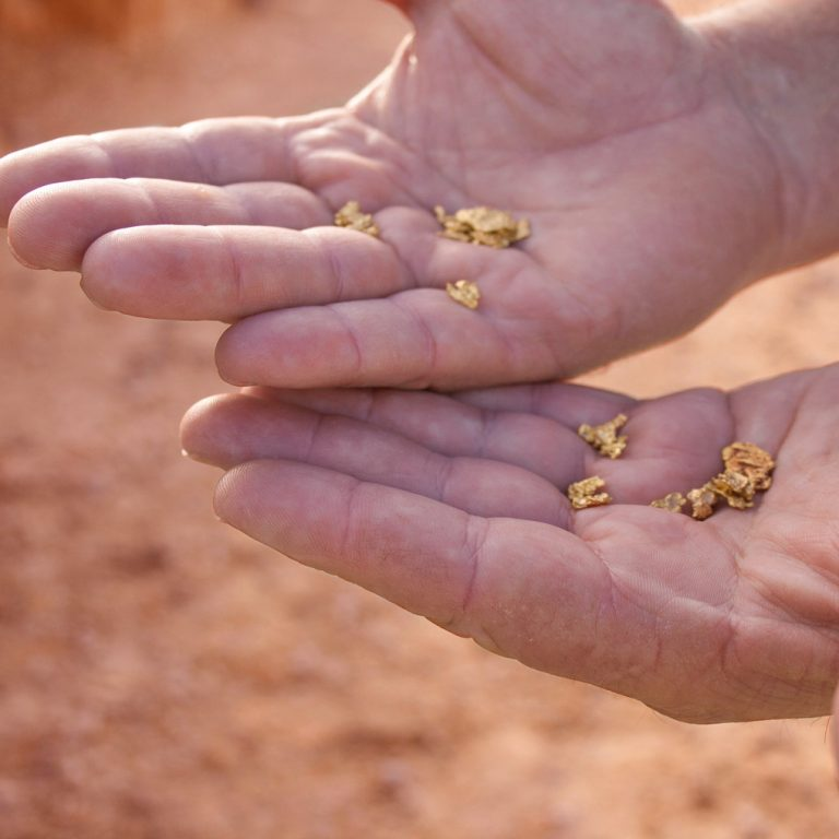 Gold nuggets in hands